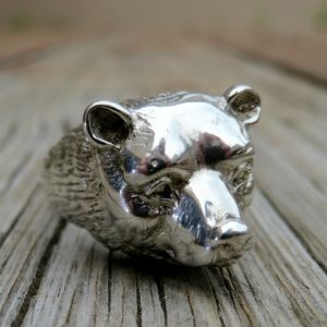 Vintage 80s 925 BIG Detailed Grizzly Bear Ring
